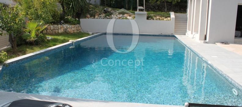 La beauté d'une piscine en mosaïque