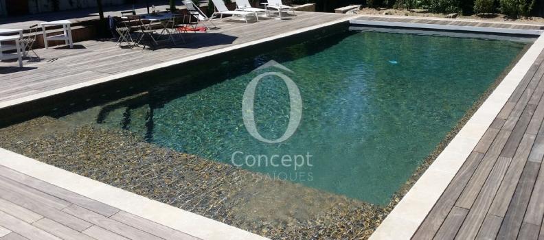 Nouvelle tendance piscine look naturel – Notre mosaïque BRUN CARAMEL
