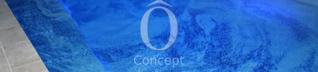 Piscine mosaique fleur bleue