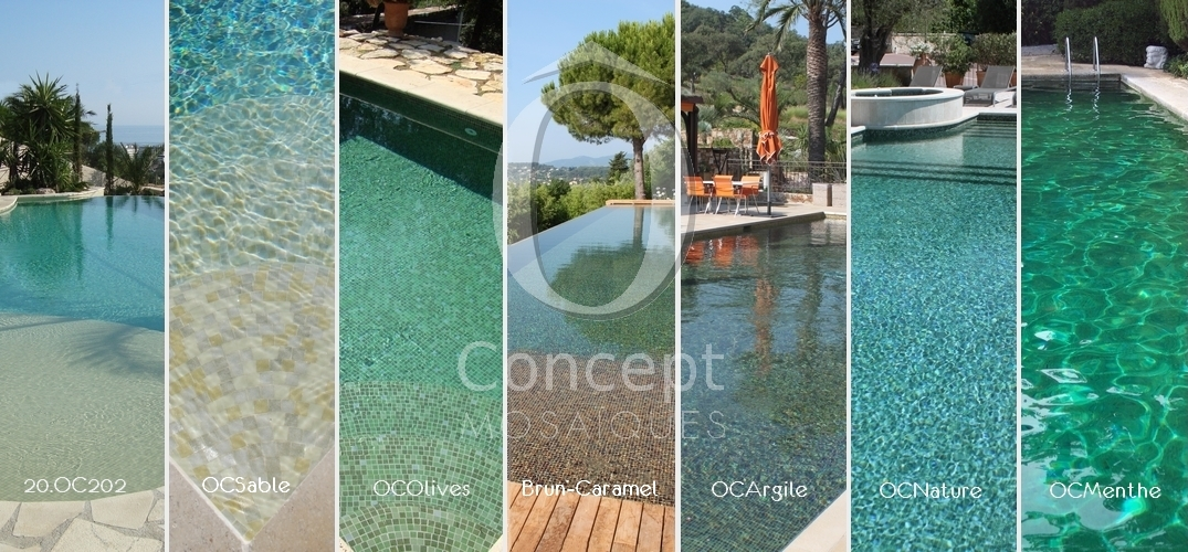 ô concept, shades of green, glass mosaic, green water, swimming pool