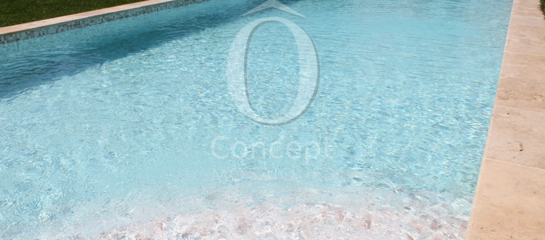 Piscine Rose Quartz en mosaique de verre