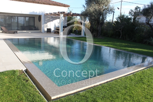 Swimming pool tile petrol blue water by Ô Concept